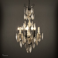versailles wood teardrop chandelier 3d model