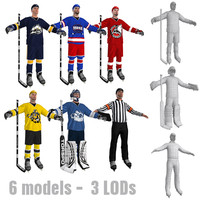 3d model hockey pack players