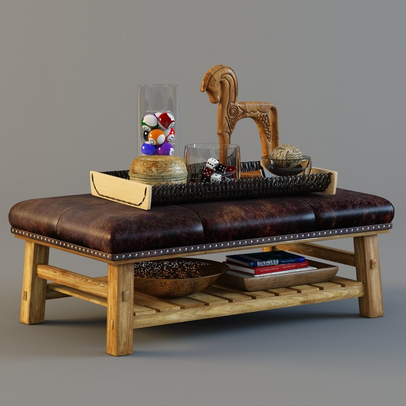 Coffee Table Ottoman 3d Model