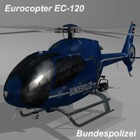 3d max eurocopter ec-120 bundespolizei