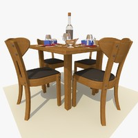 3d model oak square restaurant dining table