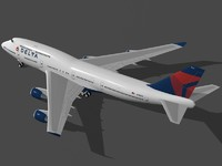 boeing 747-400 delta air lines 3d 3ds