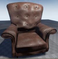 leather armchair 3d fbx