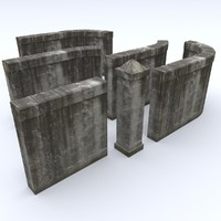 3d model concrete fence