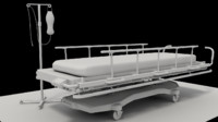 hospital stretcher iv stand 3d 3ds
