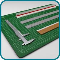 3d rulers set model