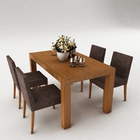3d model dining set table