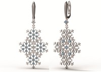 3d earrings gold snowflake