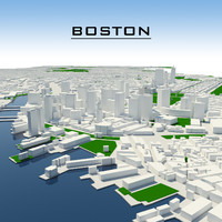3d boston cityscape model