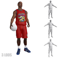rigged basketball player lod 3d max