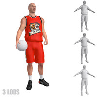 3ds max rigged basketball player lod