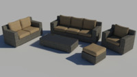set wicker patio furniture 3d max