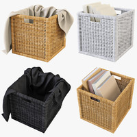 rattan basket ikea branas 3d model