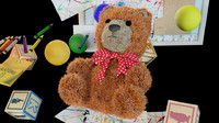 3d teddy bear alphabet blocks model