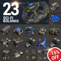 3d 23 sci-fi buildings pack