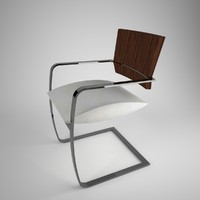 3d wood chrome dining chair model