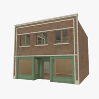 3d brick building store interior