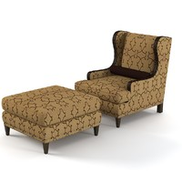 wing chair ottoman 3d model