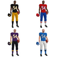 rigged football players 3d model