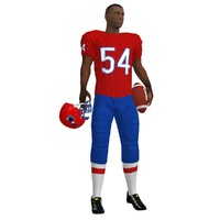 3d football player rigged 2 model