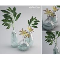 leaf wiht vase obj
