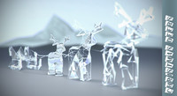 christmas sleigh santa 3d model