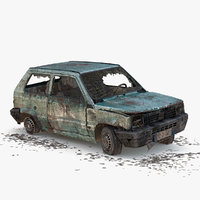wrecked car 3d