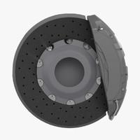 ceramic brake disk caliper 3d obj