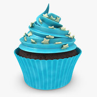 realistic cupcake blue 3d model