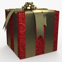 christmas gift present box 3d dxf