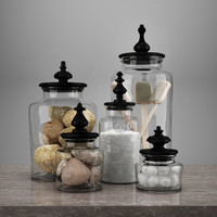 "Restoration hardware bath set ""TURNED FINIAL GLASS JAR COLLECTION"