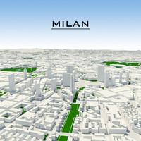 3d model milan cityscape