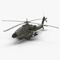 3d model of ah64a apache helicopter green