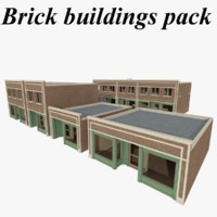 Textured brick buildings with interiors pack