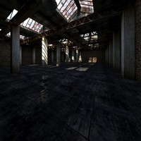3d interior old warehouse