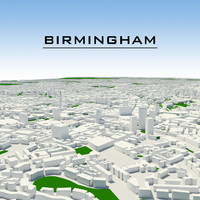 3d model of birmingham cityscape