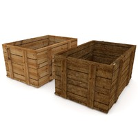 wooden crates 3d obj