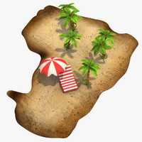cartoon island palm trees 3d obj