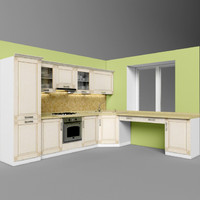 3d model kitchen set 01