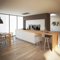 d model realistic modern kitchen interior