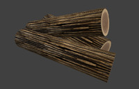 low poly, game ready, textured firewood, wood
