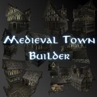 3d model medieval town builder houses