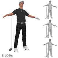 3d model golfer lods