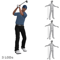 3d rigged golfer 3 lods model