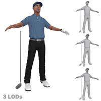 3d max golfer 3 lods