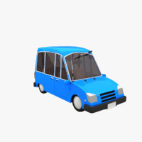 cartoon blue car 3d model
