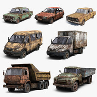 Russian Rusty Car Set