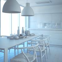 white modern kitchen 3d model