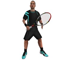 rigged tennis player 3d model