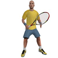 3d model rigged tennis player 2